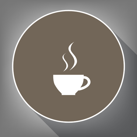 Cup sign with two small streams of smoke. Vector. White icon on brown circle with white contour and long shadow at gray background. Like top view on postament. Иллюстрация