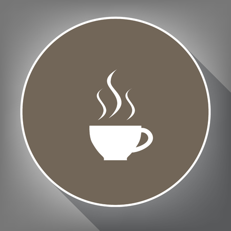 Cup sign with three small streams of smoke. Vector. White icon on brown circle with white contour and long shadow at gray background. Like top view on postament.