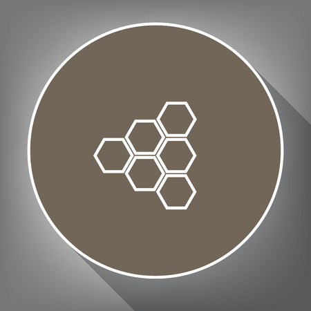 Honeycomb sign. Vector. White icon on brown circle with white contour and long shadow at gray background. Like top view on postament.