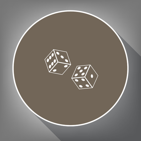 numbers: Dices sign. Vector. White icon on brown circle with white contour and long shadow at gray background. Like top view on postament.