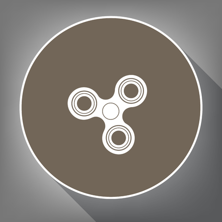 Fidget spinner sign. Vector. White icon on brown circle with white contour and long shadow at gray background. Like top view on postament. Illustration