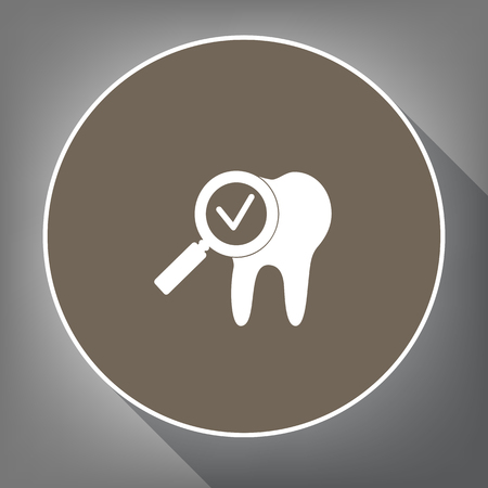 Tooth icon with arrow sign. Vector. White icon on brown circle with white contour and long shadow at gray background. Like top view on postament.