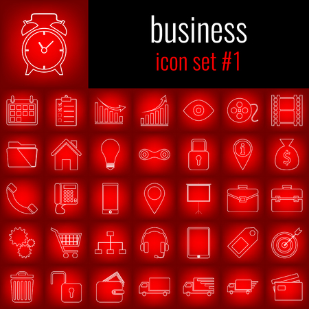 Business. Icon set 1. White line icon on red gradient backgrpund.