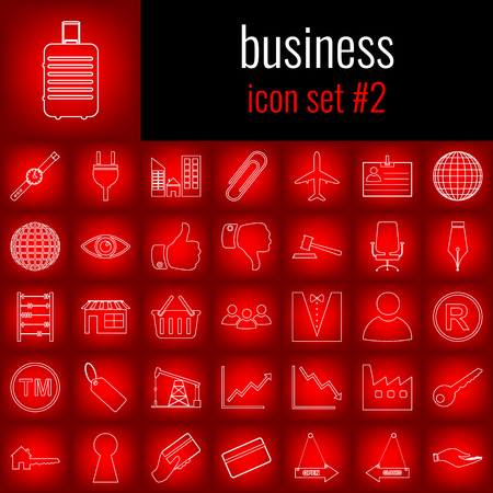 Business. Icon set 2. White line icon on red gradient backgrpund.