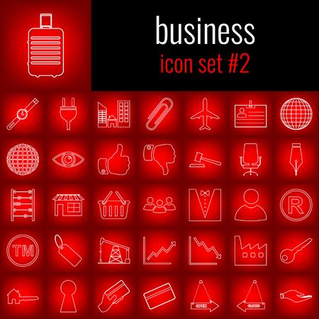 Business. Icon set 2. White line icon on red gradient backgrpund. Illustration