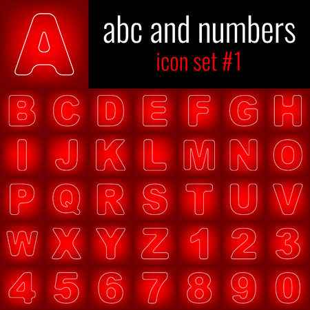 Abc and numbers. Icon set 1. White line icon on red gradient backgrpund.