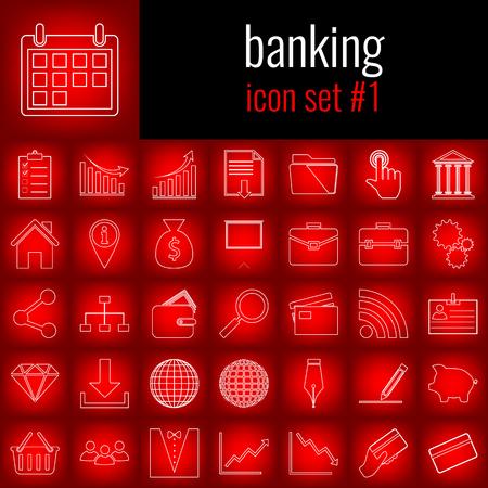 은행업. 아이콘 1을 설정합니다. 빨간색 그라디언트 backgrpund에 흰색 선 아이콘입니다.
