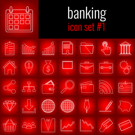 Banking. Icon set 1. White line icon on red gradient backgrpund.