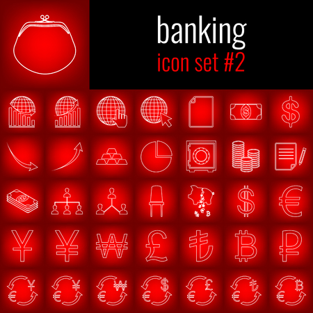 Banking. Icon set 2. White line icon on red gradient backgrpund.