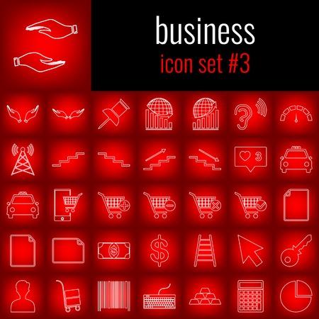 ビジネス。アイコンは、3 を設定します。赤のグラデーションの backgrpund のアイコンを白い線。