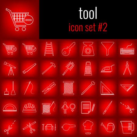 Tool. Icon set 2. White line icon on red gradient backgrpund. Illusztráció