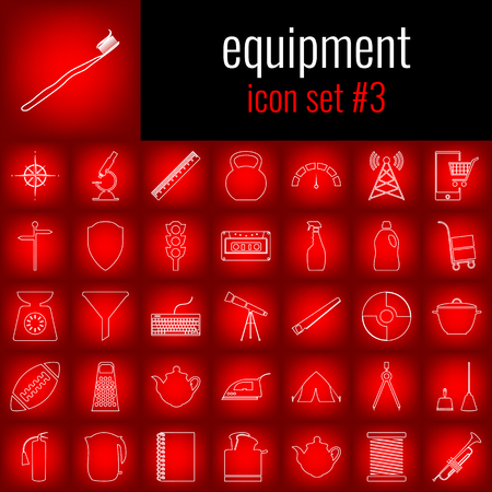 Equipment. Icon set 3. White line icon on red gradient backgrpund. Vettoriali