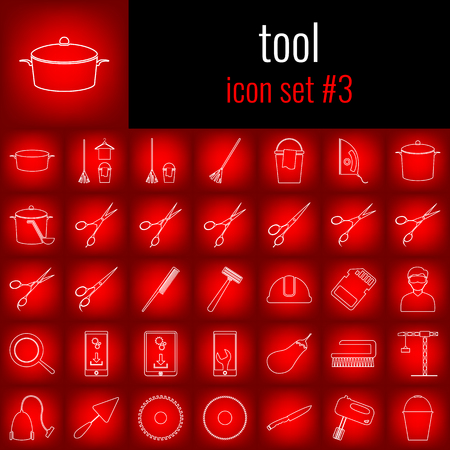 Tool. Icon set 3. White line icon on red gradient backgrpund. Иллюстрация