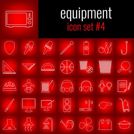 girl laptop: Equipment. Icon set 4. White line icon on red gradient backgrpund.