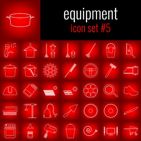 Equipment. Icon set 5. White line icon on red gradient backgrpund. Ilustração
