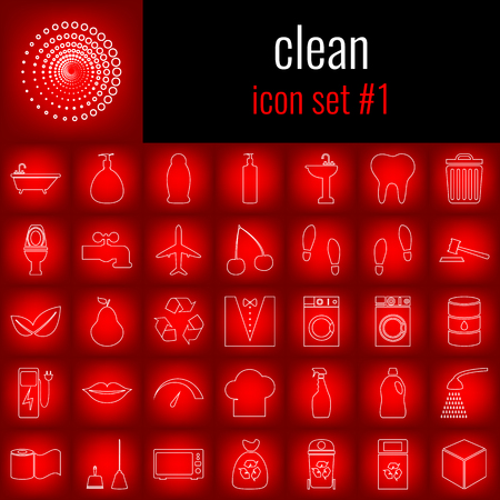 Clean. Icon set 1. White line icon on red gradient backgrpund.