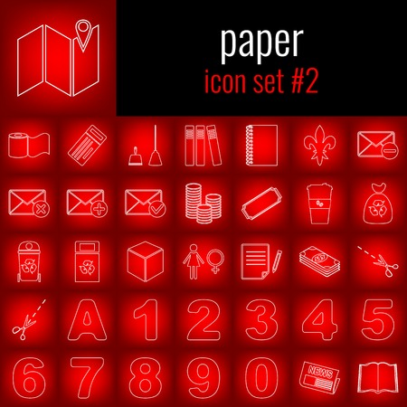 Paper. Icon set 2. White line icon on red gradient backgrpund.