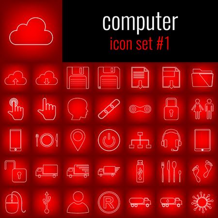 Computadora. Conjunto de iconos 1. Icono de línea blanca en degradado rojo backgrpund. Ilustración de vector