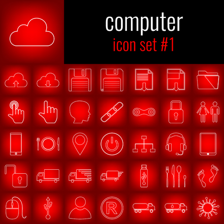 Computer. Icon set 1. White line icon on red gradient backgrpund.