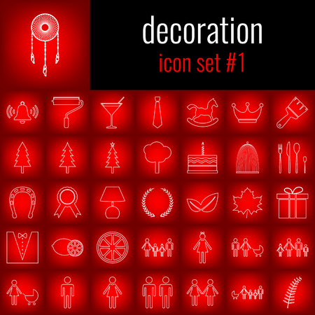 Set of decoration icons. Illustration