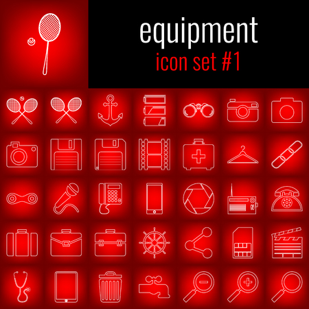 Set of equipment icons.
