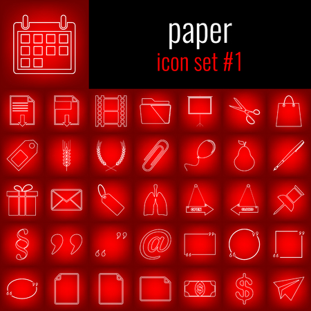 Paper. Icon set 1. White line icon on red gradient backgrpund. Stock Vector - 86301904