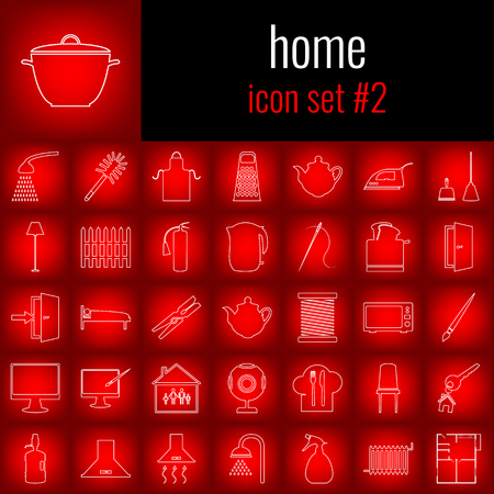 girl laptop: Set of home equipment icons. Illustration