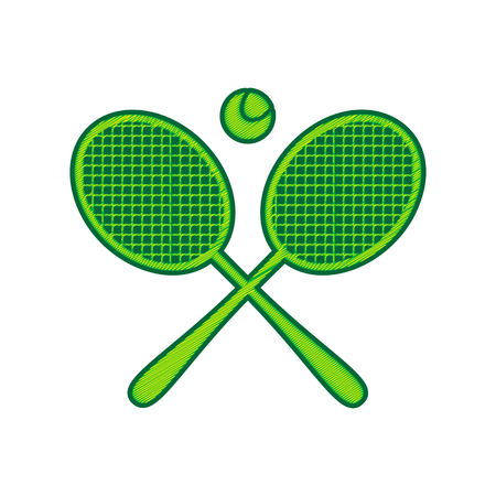 Two tennis racket with ball sign. Vector. Lemon scribble icon on white background. Isolated Ilustração