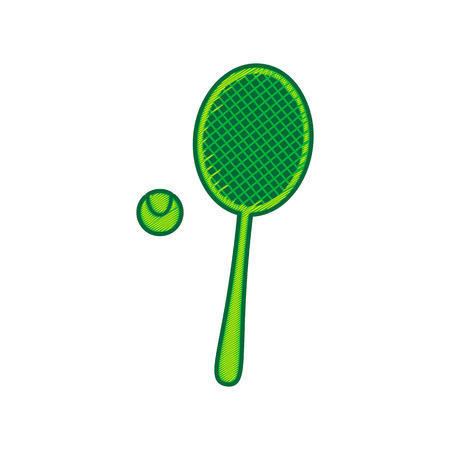 Tennis racquet with ball sign. Vector. Lemon scribble icon on white background. Isolated Ilustração