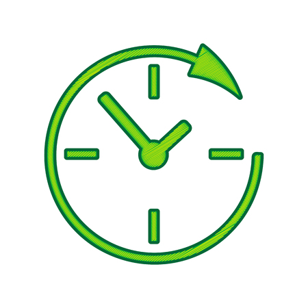 Service and support for customers around the clock and 24 hours. Vector. Lemon scribble icon on white background. Isolated Illustration