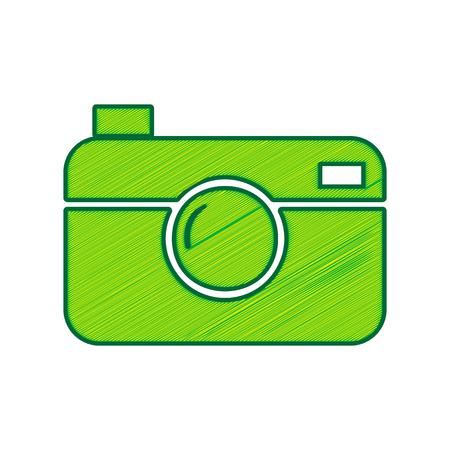 디지털 사진 카메라 기호입니다. 벡터. 흰색 배경에 레몬 낙서 아이콘입니다. 외딴 일러스트