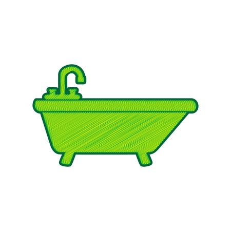 Bathtub sign illustration. Vector. Lemon scribble icon on white background. Isolated