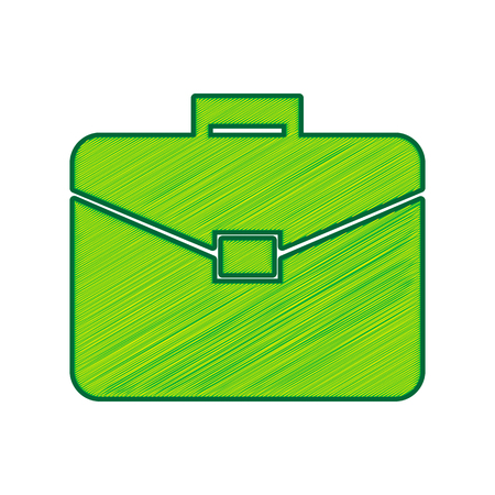 Briefcase sign illustration. Vector. Lemon scribble icon on white background. Isolated Illustration