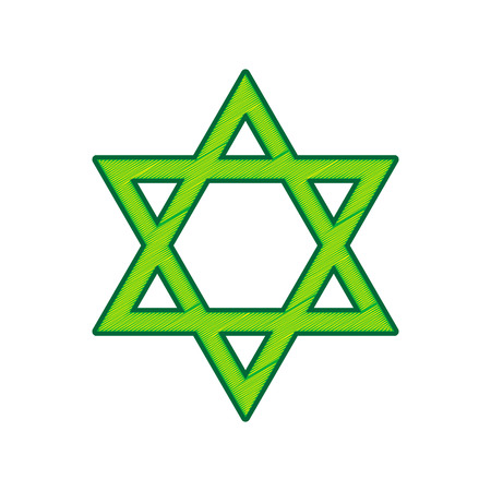 Shield Magen David Star. Symbol of Israel. Vector. Lemon scribble icon on white background. Isolated