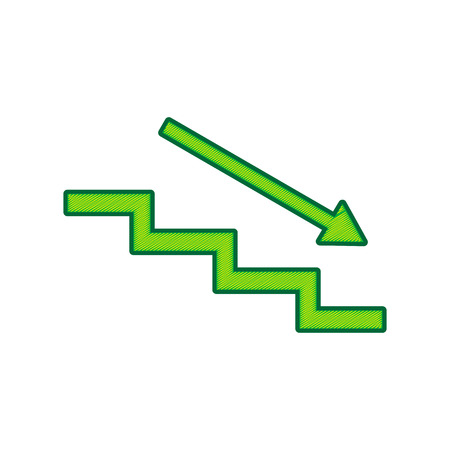Stair down with arrow.