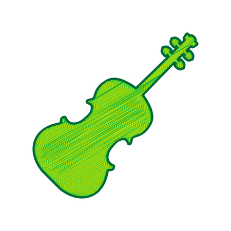 バイオリンの看板イラスト。ベクトル。白い背景にレモンの落書きアイコン.分離  イラスト・ベクター素材