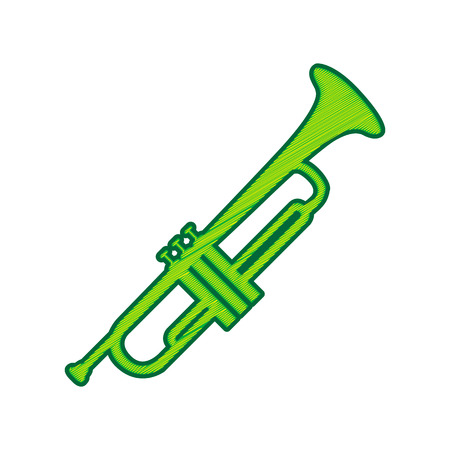 Musical instrument Trumpet sign. Vector. Lemon scribble icon on white background. Isolated Illustration