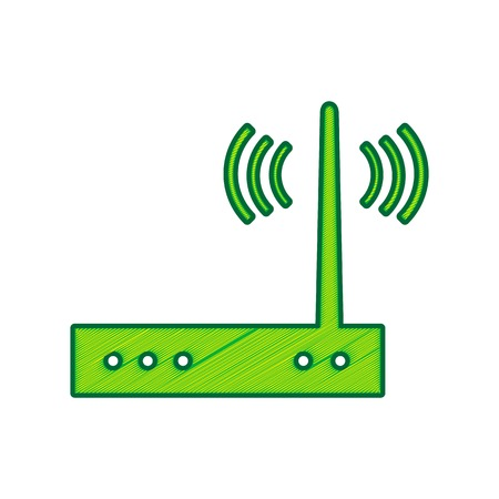 Wifi modem sign. Vector. Lemon scribble icon on white background. Isolated