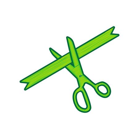 Ceremony ribbon cut sign. Illustration