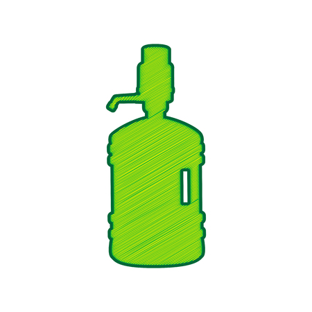 Plastic bottle silhouette with water and siphon in Lemon scribble icon on white background.