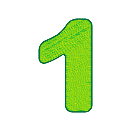 Number 1 sign design template element in Lemon scribble icon on white background.