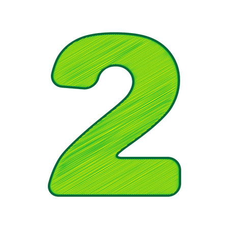Number 2 sign design template elements in Lemon scribble icon on white background.