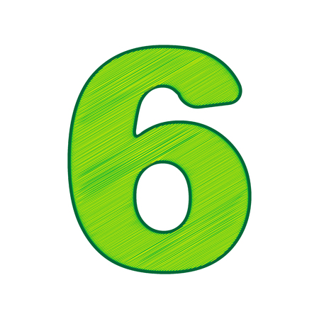 Number 6 sign design template element in Lemon scribble icon on white background.