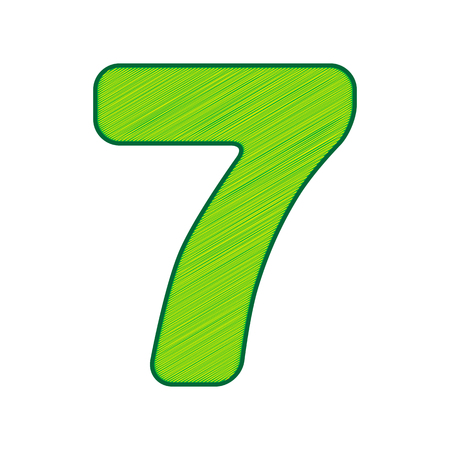Number 7 sign design template element in Lemon scribble icon on white background. Illustration