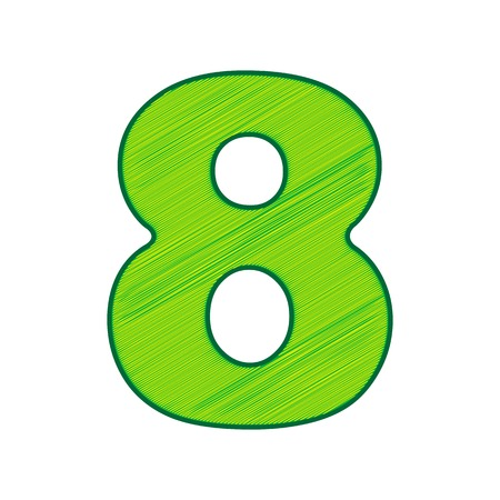 Number 8 sign design template element in Lemon scribble icon on white background.