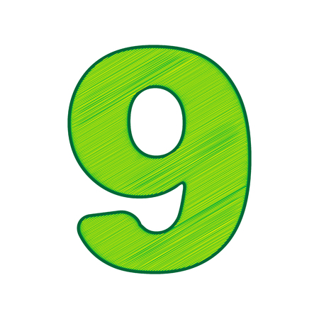 Number 9 sign design template element in Lemon scribble icon on white background.