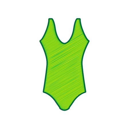 Womans swimsuit sign in Lemon scribble icon on white background.