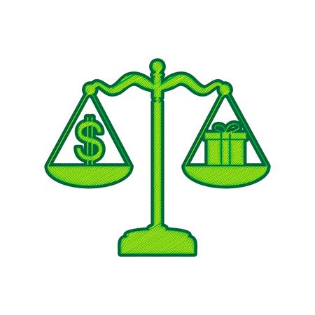 Geschenk- und Dollarsymbol auf Skalierungsikone.