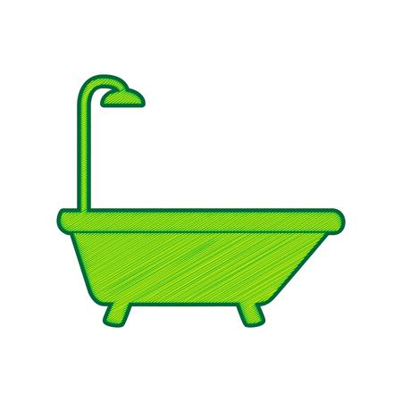 Bathtub sign in Lemon scribble icon on white background.