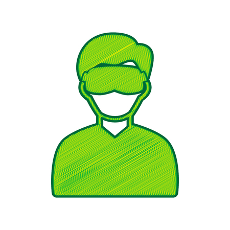 Man with sleeping mask sign. Vector. Lemon scribble icon on white background. Illustration